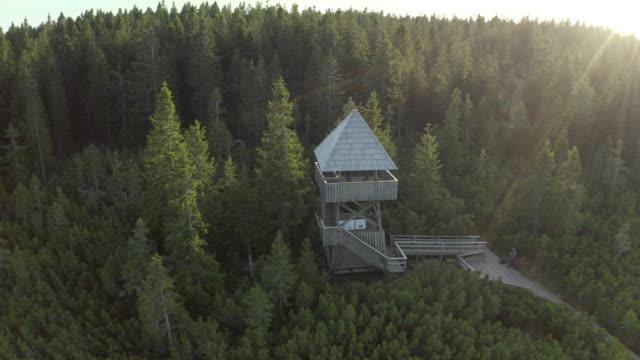 Drone Orbit Shot Of Wooden Watchtower