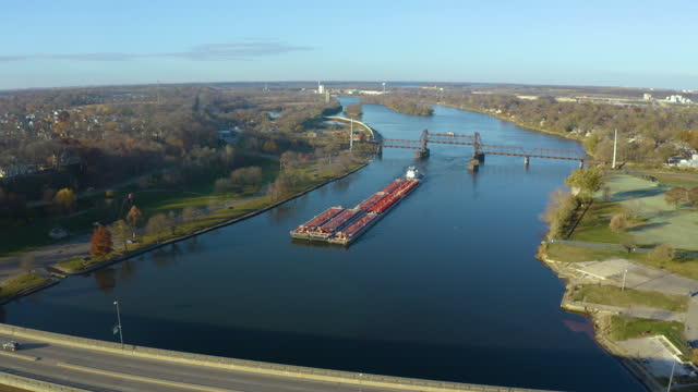Drone Over Barge on the Illinois River video