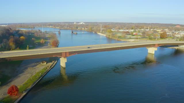 Drone Over Illinois River Barge Traffic at Ottawa IL video
