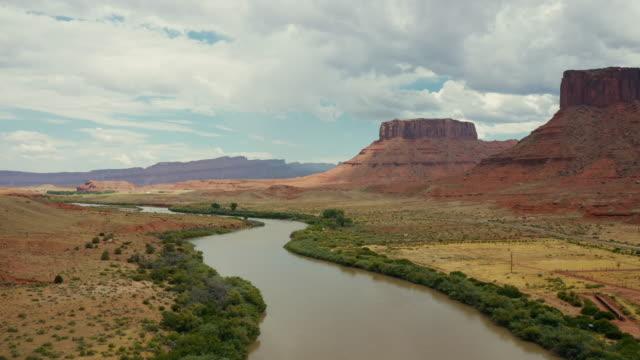 Drone over the Colorado river, near Moab, Utah