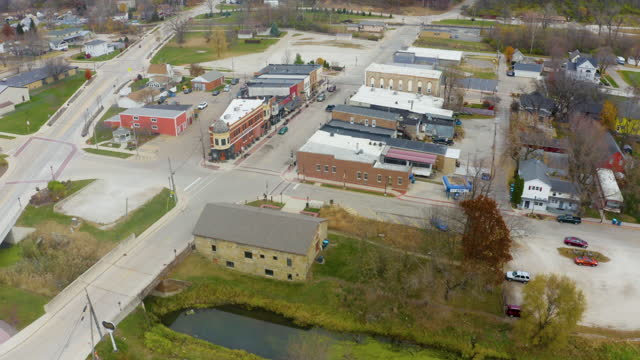 Drone Over the Small Town of Utica Illinois video