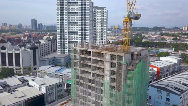 Drone point of view Cityscape with New Building Construction
