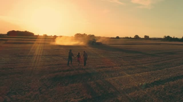 Drone point of view farmer family walking in sunny,idyllic rural wheat field at sunset,slow motion