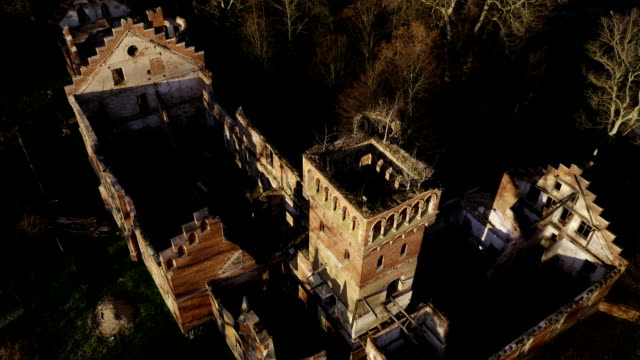 Drone Point of View to Old Abandoned Ruined Mansion video