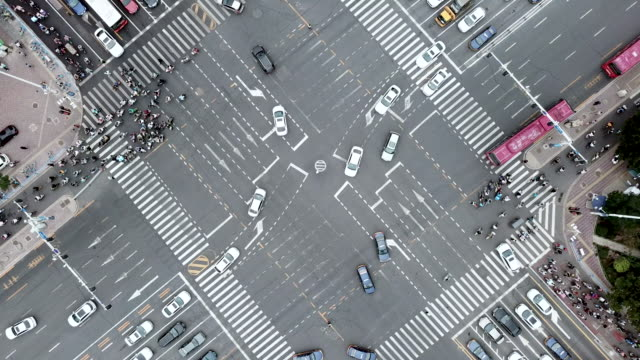 Drone Point View of City Street Crossing