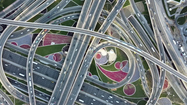 PAN Drone Point View of Road Intersection / Dubai, UAE
