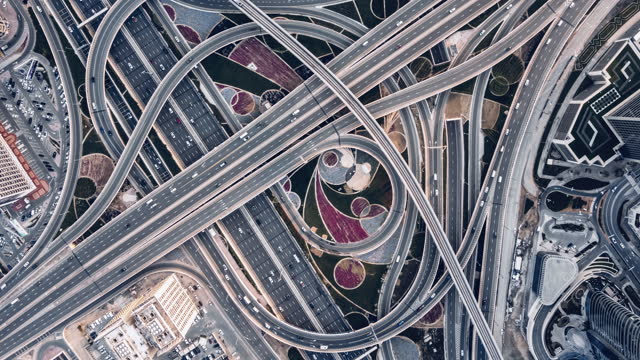 T/L Drone Point View of Road Intersection / Dubai, UAE