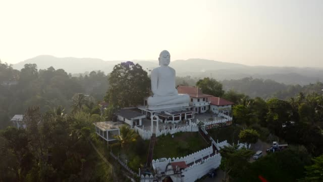 Drone  pov of big white sitting Buddha overlooking the green lush hills around Drone pov of big white sitting Buddha overlooking the green lush hills around. Aerial view of buddhist temple in Kandy, Sri Lanka at sunset sri lankan culture stock videos & royalty-free footage