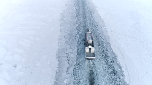 Drone Pursuing a Small Boat Icebreaker Moving on the Surface of a Frozen Lake