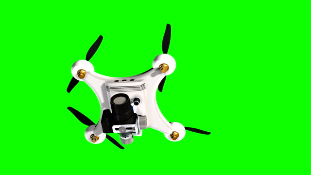Drone Quadrocopter with professional camera flies / hovering  - green screen video
