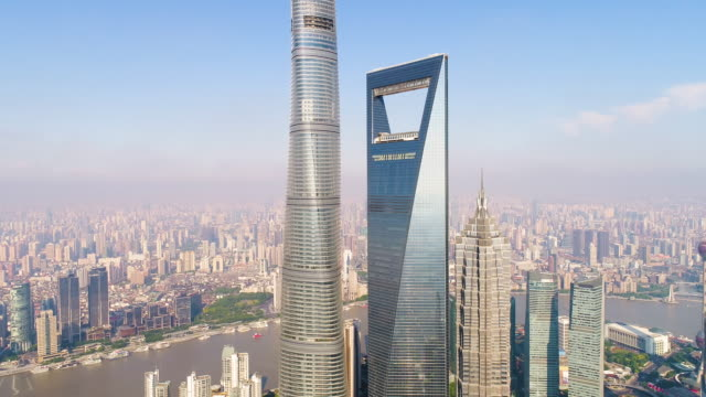 Drone shot: 4K Aerial view of Lujiazui Financial District in Shanghai. video