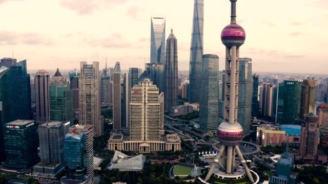 Drone shot: 4K Aerial view of Shanghai skyline Shanghai, Aerial View, China - East Asia, City, Cityscape shanghai stock videos & royalty-free footage