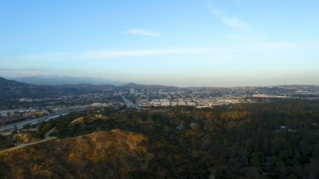 Drone shot above Griffith Park towards Glendale, CA video