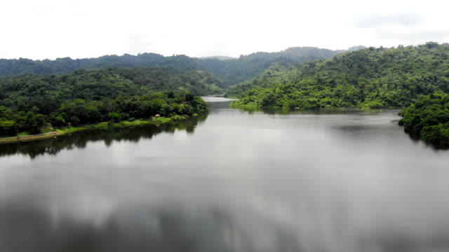 Drone shot aerial view scenic landscape of reservoir dam at the countryside video