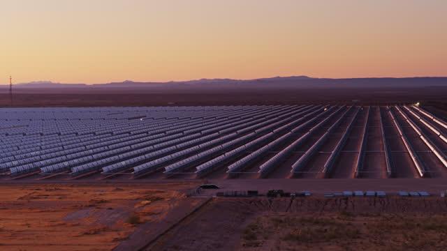 Drone Shot Approaching Parabolic Trough Solar Plant