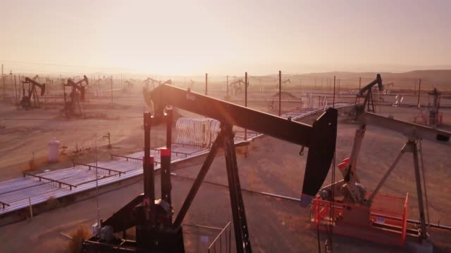 Drone Shot Climbing Over Midway-Sunset Oil Field, Kern County, California