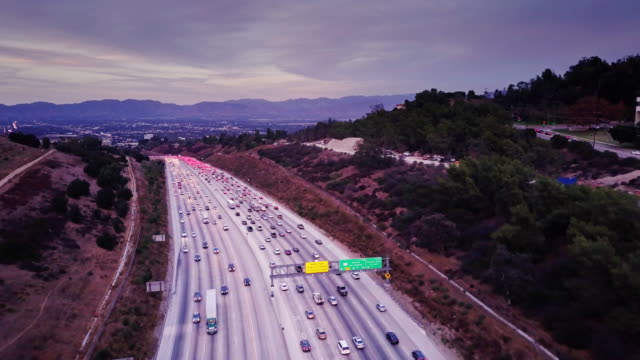 Drone Shot Following 405 Into Sherman Oaks, CA video