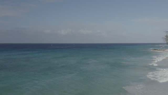 Drone shot moving out to sea over idyllic Caribbean beach (2) video