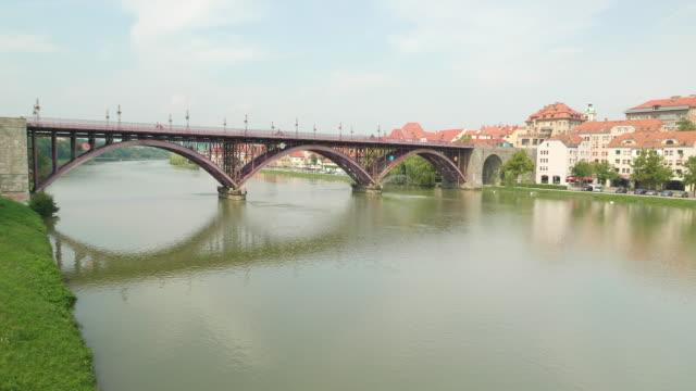 acros nehri going beautiful bridge of drone shot - styria stok videoları ve detay görüntü çekimi