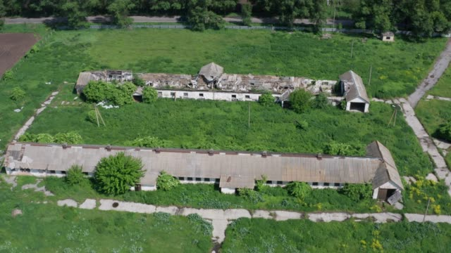 Drone shot of abondoned farm