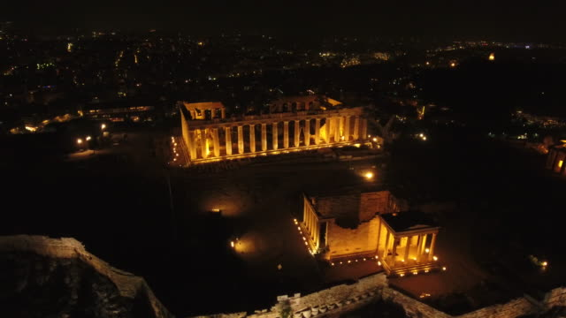 4K Drone Shot Of Acropolis By Night video