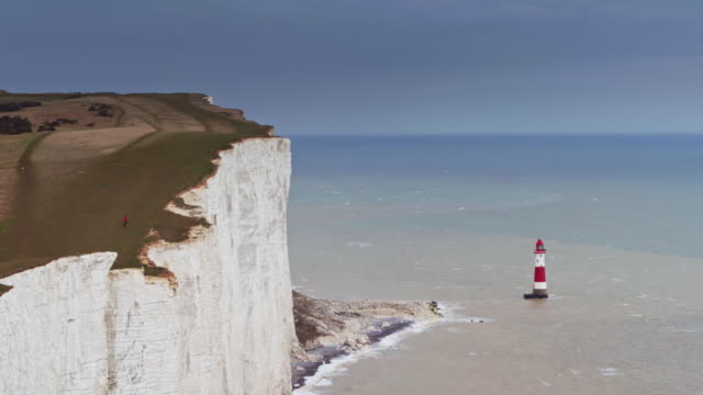 drone shot of beachy head and the english channel - south downs video stock e b–roll