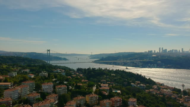 drone shot of bosphorus istanbul - istanbul video stock e b–roll