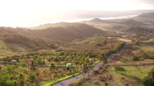Drone shot of Cherry Tree Hill at sunrise on East Coast of Barbados video
