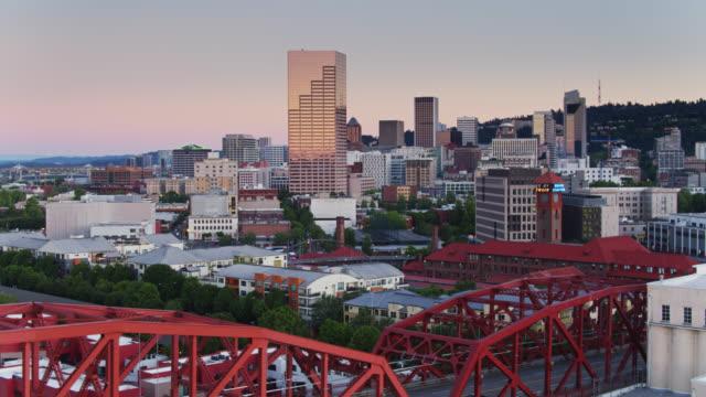 Drone Shot of Downtown Portland Revealing Broadway Bridge video