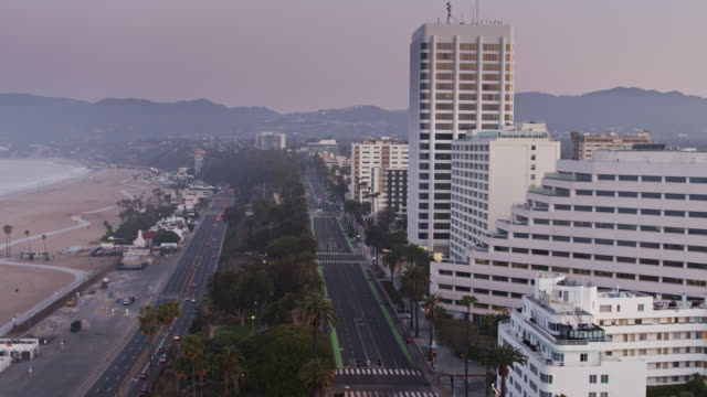 Drone Shot of Empty Ocean Avenue and Quiet PCH in Santa Monica During the Covid-19 Lockdown