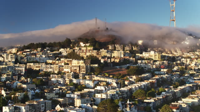 Drone Shot of Fog Bank Rolling Over Twin Peaks and Sutro Tower, San Francisco video