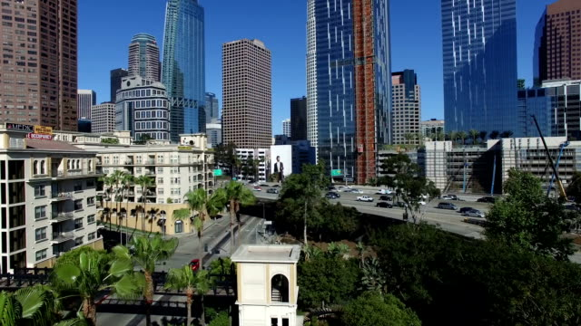 Drone shot of luxury apartments in downtown Los Angeles video