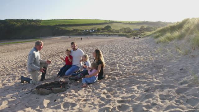 drone shot of multi-generation family having evening barbecue around fire on beach vacation - falò spiaggia video stock e b–roll