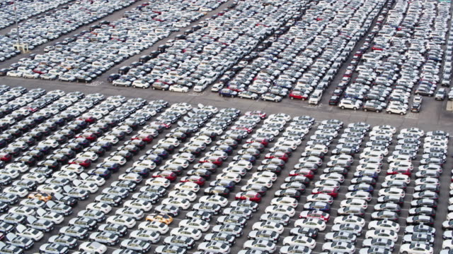 Drone Shot of Port of LA, Sweeping Down Over Yard Full of New Cars video