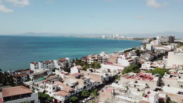 Drone Shot of the Coastline of Puerto Vallarta Mexico