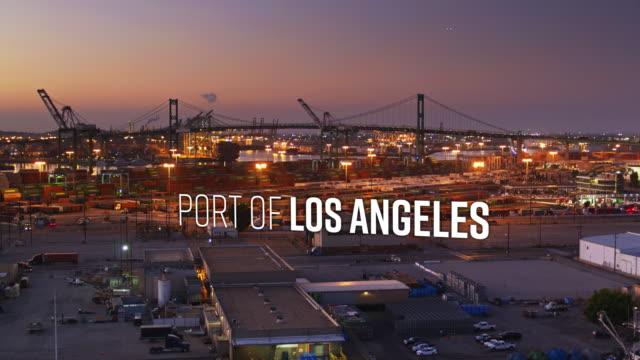 drone skott av hamnen i los angeles med flytande text - shipping sunset bildbanksvideor och videomaterial från bakom kulisserna