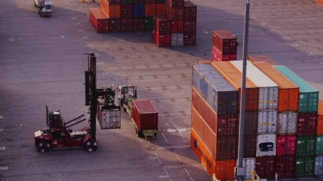 Drone Shot of Top Handler Arranging Shipping Containers video