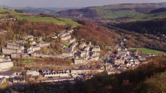 Drone Shot of Upper Calder Valley - Hebden Bridge and Mytholmroyd video