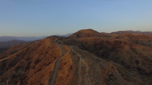 Drone shot over Los Angeles hills hiking trails video
