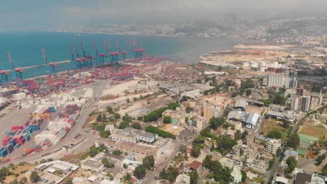 Drone shots of Beirut Port and surrounding areas showing the damage caused by massive explosion. A massive explosion happened on August 4, 2020 in Beirut Port, killing over 200 people and injuring thousands. beirut stock videos & royalty-free footage