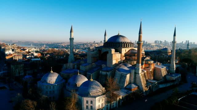 drone skott av hagia sofia och hagia eirene vid sunrise i istanbul - ramadan kareem bildbanksvideor och videomaterial från bakom kulisserna