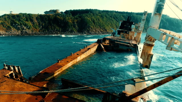 Drone Shots of Sinking Ship, Stranded Ship, Old Rusty Ship, Burnt Ship, Abandoned Ship, Shipwreck