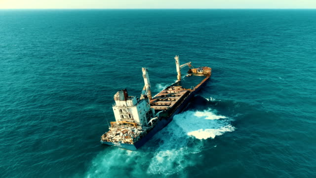 Drone Shots of Sinking Ship, Stranded Ship, Old Rusty Ship, Burnt Ship, Abandoned Ship, Shipwreck