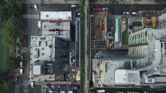 Drone shots of the iconic High Line park in New York City
