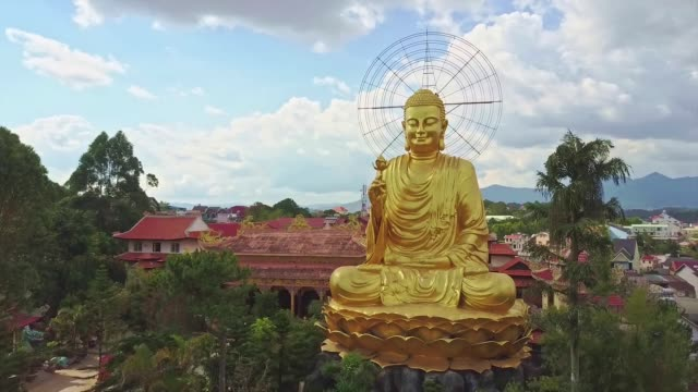 Drone Shows Fantastic Beautiful Gold Buddha with Lotus Flower