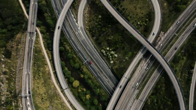 Drone top view of highway junction interchange.