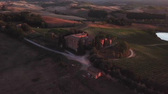 Drone video - flying over an italian vineyard