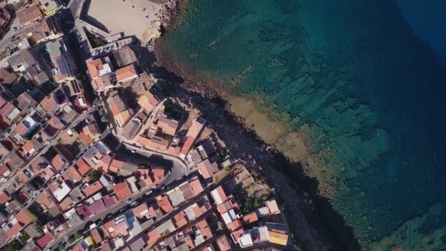 drone video - flying over castelsardo city - sardinia - sardegna video stock e b–roll