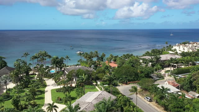 Drone video of southern entrance to Speightstown, Barbados video