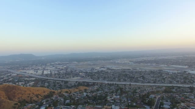 Drone view above Burbank, California neighborhood video